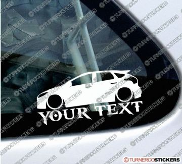 2x Lowered Ford Focus ST Mk3 (3rd Gen, 2011+)  CUSTOM TEXT silhouette stickers